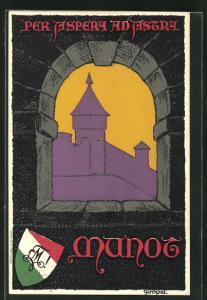 AK Schaffhausen, Blick aus der Festung Munot, Studentenwappen der Verbindung Munot