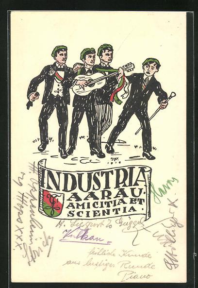 AK Aarau, Studentenwappen der Industria Aarau, Amicitia et Scientia, Studenten musizieren