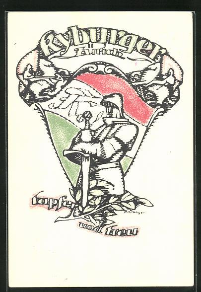 AK Zürich, Studentenwappen Kyburger, Ritter mit Schwert, Tapfer und treu