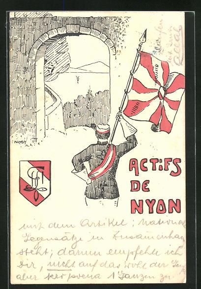 AK Nyon, Studentenwappen Actifs de Nyon, Verbindungsstudent mit Fahne in der Hand