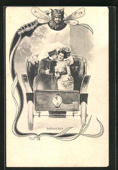 Künstler-AK Charles Scolik: Verliebtes Paar im Auto