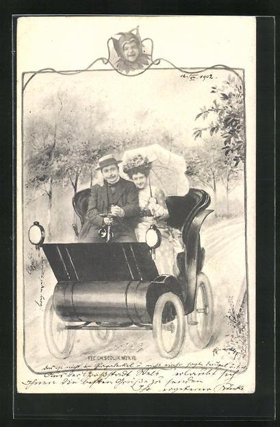 Künstler-AK Charles Scolik: Paar auf einer Autofahrt auf der Landstrasse