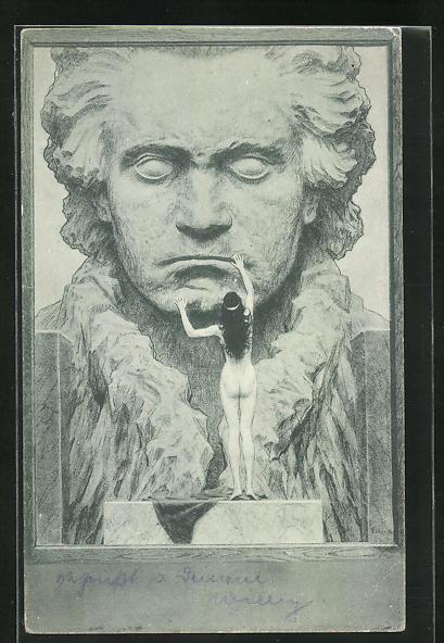 Künstler-AK Fidus: Nackte Dame berührt das Portrait Beethovens