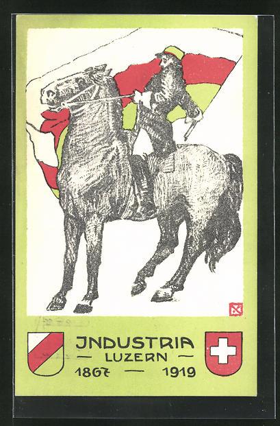 AK Luzern, Studentenwappen der Industria Luzern, Student zu Pferde mit Verbindungsfahne