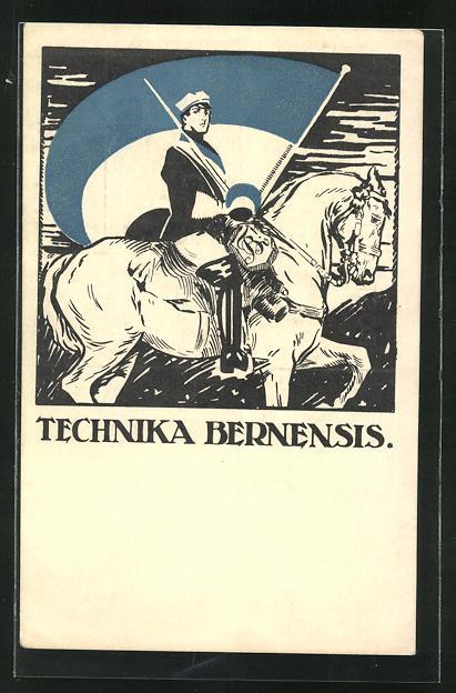 AK Bern, Studentenverbindung Technika Bernensis, Student zu Pferde mit Verbindungsfahne in der Hand