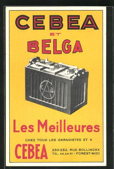 AK Reklame für die Autobatterie Cebea et Belga, Autobatterie