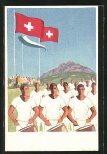 AK Luzern, 59. Eidgen. Turnfest 1928, Turner mit Trommeln, Schweizer Flagge