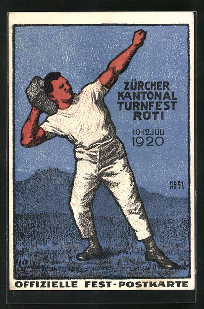 AK Rüti, Zürcher Kantonal Turnfest 1920, Turner bei einer Wurfübung