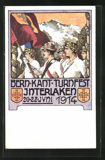 AK Interlaken, Berner Kantonal Turnfest 1914, Teilnehmer mit Lorbeerkranz und Flagge