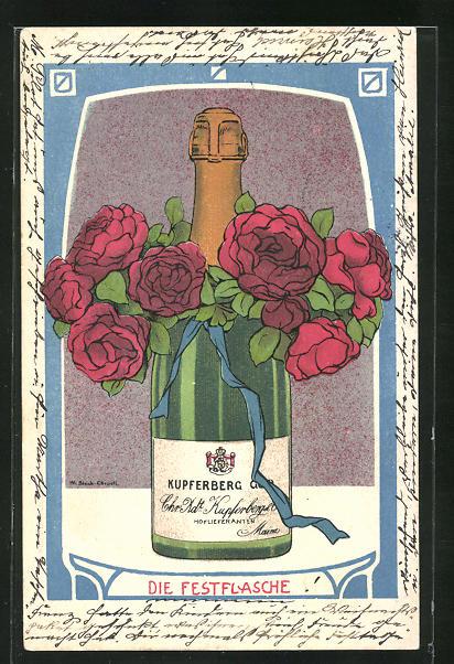 AK Schaumwein Kupferberg Gold, Flasche mit Rosen dekoriert, Karlsruher Künstlerbund, Jugendstil