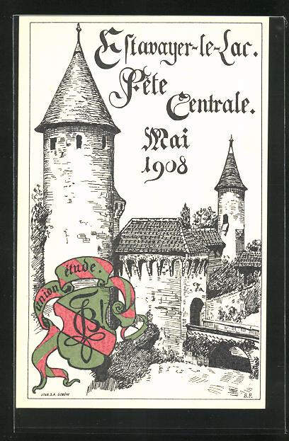 AK Estavayer-le-Lac, Studentenwappen Union Etude, Festung mit Brücke, Fete Centrale 1908