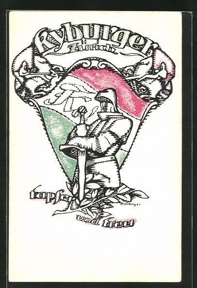 AK Zürich, Studentenwappen Kyburger, Ritter mit Schwert und Rüstung, Tapfer und treu