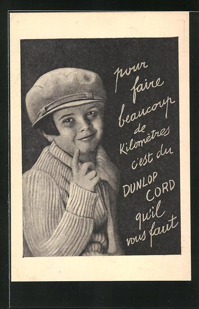 AK Reklame für Auto Dunlop Cord, Mädchen mit Schirmmütze