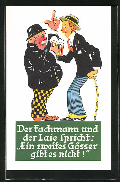 AK Steiermark-Austria, Brauerei-Werbung Gösser Brauerei A. G., Zwei Herren mit Biergläsern
