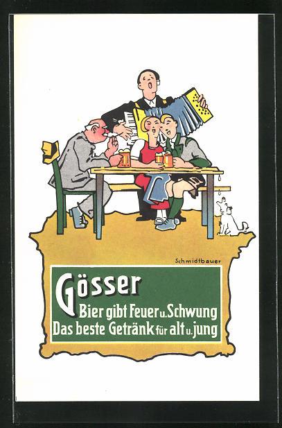 AK Steiermark-Austria, Brauerei-Werbung Gösser Brauerei A. G., Alter Herr u. junges Paar am Biertisch