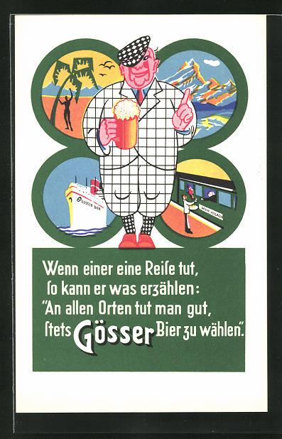 AK Steiermark-Austria, Brauerei-Werbung Gösser Brauerei A. G., Herr mit Bierkrug