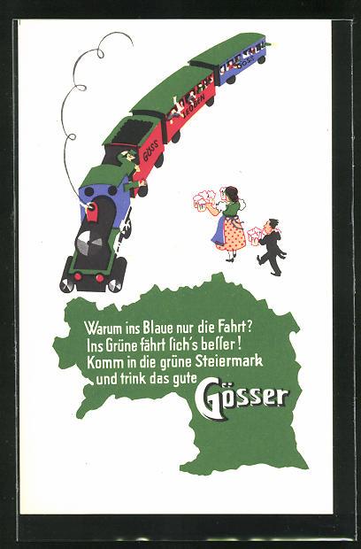 AK Steiermark-Austria, Brauerei-Werbung Gösser Brauerei A. G., Dame u. Herr mit Bierkrügen gehen auf Eisenbahn zu
