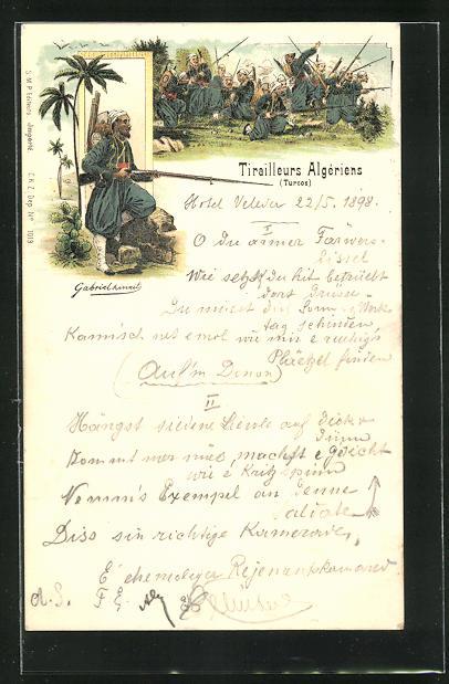 Lithographie Tirailleurs Algeriens, Infanteriesoldaten in Uniformen mit Gewehr, Kampfszene
