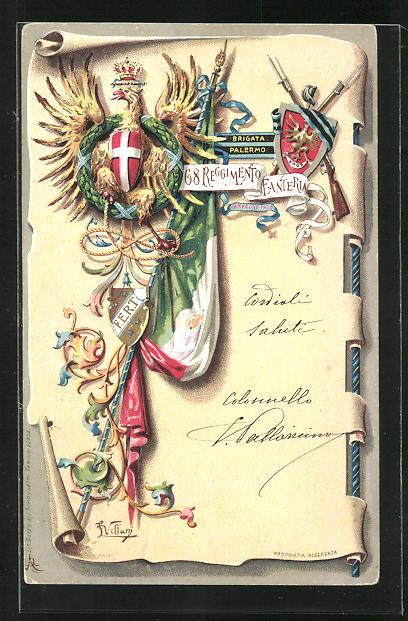 AK Adler u. Wappen mit Flagge, 68. Infanterie-Regiment
