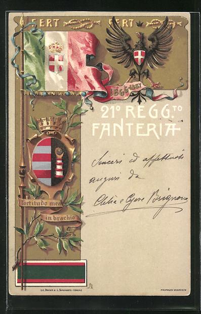 Lithographie Wappen mit Adler u. Flagge, 21. Infanterie-Regiment