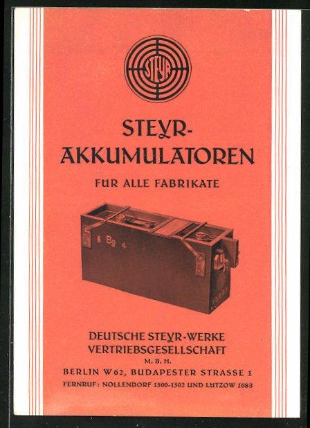 AK Deutsche Steyr-Werke Vertriebsgesellschaft mbH Berlin, Steyr Akkumulatoren für alle Fabrikate