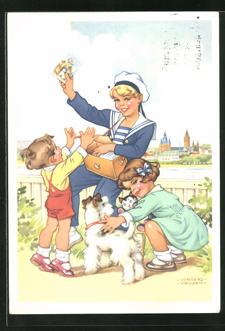 Künstler-AK Ilse Wende-Lungershausen: Kinder und Matrose mit Ansichtskarten-Bauchladen