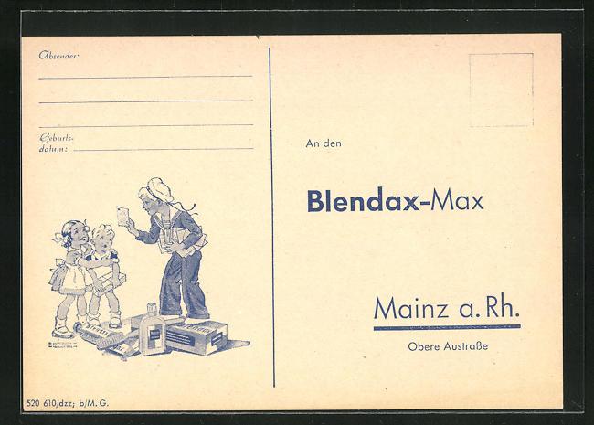 AK Mainz a. Rh., Adress-Akquirierung der Firma Blendax, Obere Austrasse, Blendax-Max gratuliert zum Geburtstag
