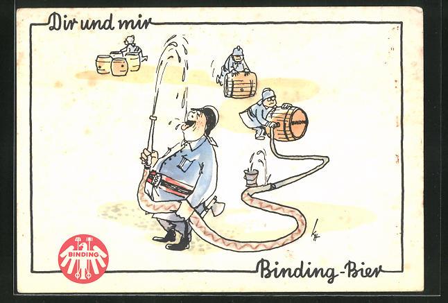 Künstler-AK Brauerei-Werbung für Binding-Bier, Feuerwehrmann löscht seinen Durst