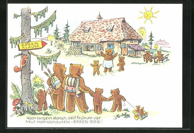 Künstler-AK Brauerei-Werbung für Bären-Bier der Bären-Brauerei AG in Schwenningen a. Neckar
