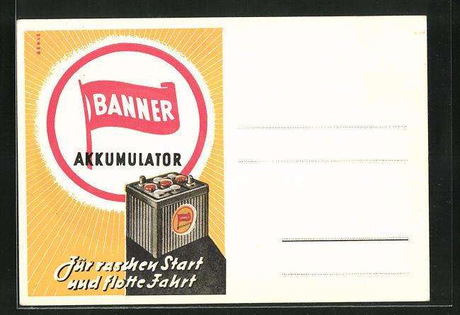 AK Reklame für Auto-Batterie Banner Akkumulator