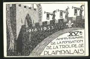 Künstler-AK Plainpalais, XV Anniversaire de la Fondation de la Troupe de Plainpalais 1933, Claireurs Suisses