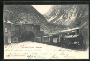AK Gotthard-Express beim Verlassen des Tunnels