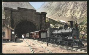 AK Goeschenen, Gotthardbahn verlässt den Tunnel