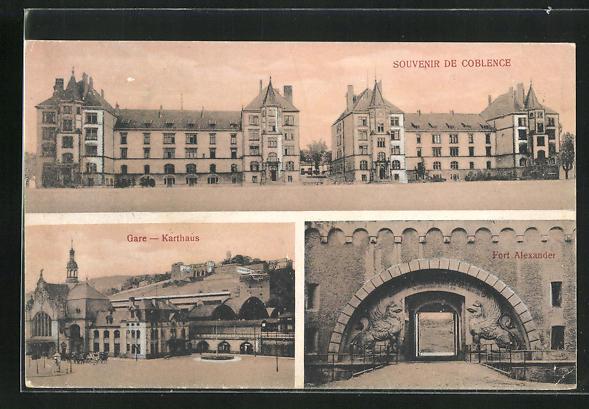 AK Koblenz, Bahnhof und Fort Alexander