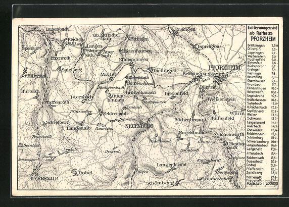 AK Pforzheim, Landkarte mit Busenbach, Hohenwarth und Spielberg
