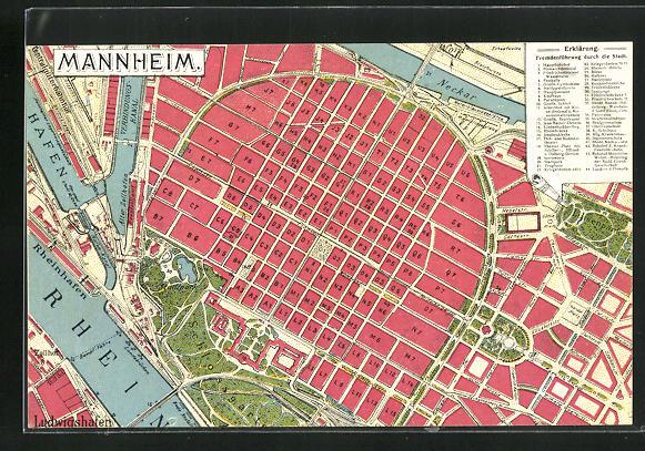 AK Mannheim, Stadtplan mit Sternwarte, Zeughaus und Börse