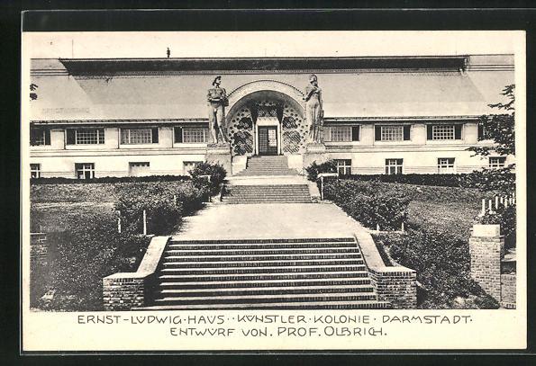 AK Darmstadt, Ausstellung 1904, Ernst-Ludwig-Haus, Künstler Kolonie