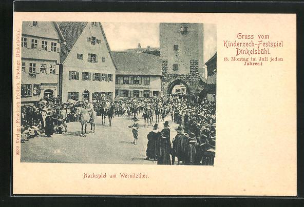AK Dinkelsbühl, Kinderzeche am Altrathausplatz, Nachspiel am Wörnitzthor