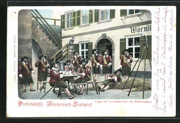 AK Dinkelsbühl, Kinderzeche am Altrathausplatz, Lager der Landsknechte am Wörnitztor