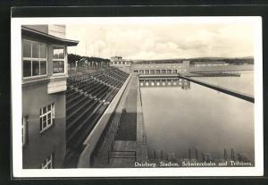 AK Duisburg, Stadion, Schwimmbahn und Tribünen
