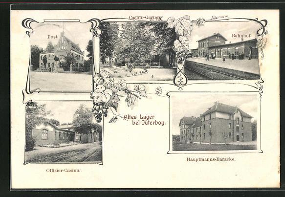 AK Altes Lager, Post, Bahnhof, Offizier-Casino