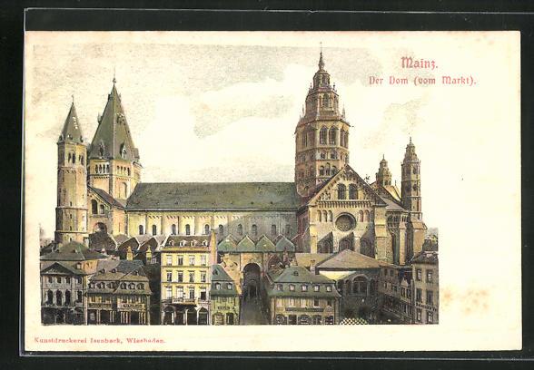 Relief-AK Mainz, Der Dom vom Markt