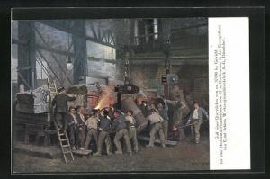 AK Düsseldorf, Eisengiesserei von Ernst Schiess Werkzeugmaschinenfabrik A. G., Guss eines Querstückes