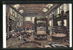 AK Düsseldorf, Eisengiesserei von Ernst Schiess Werkzeugmaschinenfabrik A. G., Blick in eine der Montagehallen