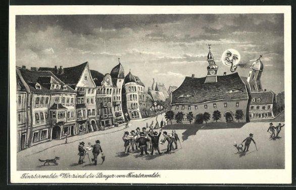 Wirtshaus-AK Finsterwalde, Ortspartie mit Sängern bei Mondschein