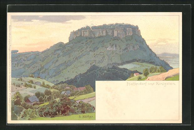 Künstler-AK Meissner & Buch (M&B): Pfaffendorf, Ortsansicht mit Königstein