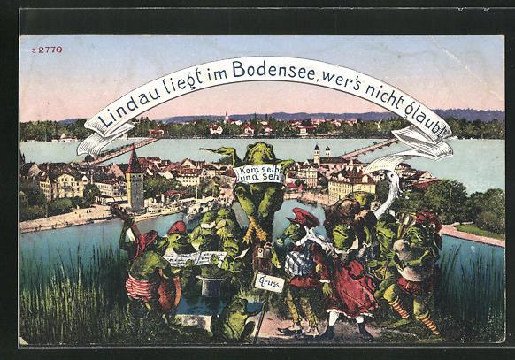 AK Lindau am Bodensee, Froschkonzert u. Ortsansicht