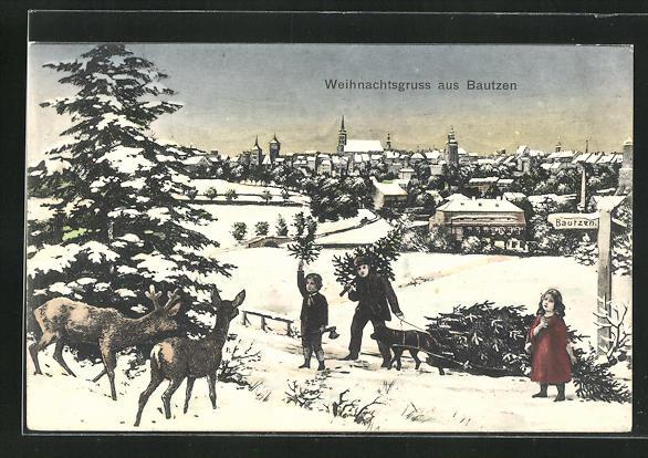 AK Bautzen, Teilansicht im Winter mit Kindern und Rehen