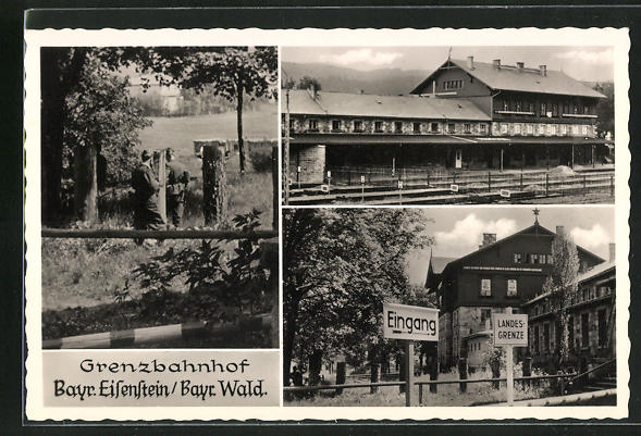 AK Bayr. Eisenstein / Bayr. Wald, Grenzbahnhof, Mehrfachansicht, Partie am Bahnhof mit Soldaten in Uniformen