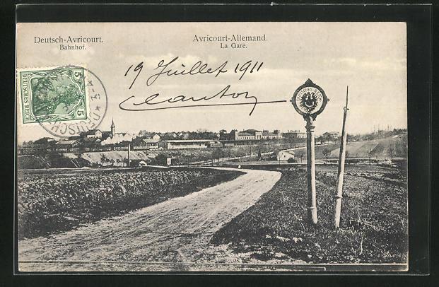 AK Deutsch-Avricourt, Bahnhof an der Grenze